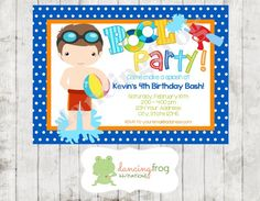 Boy Pool Party Invitation  Printed Boy Pool by DancingFrogInvites