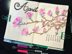 Bullet journal monthly cover page, April cover page, Magnolia tree drawing. | @bujo_soul