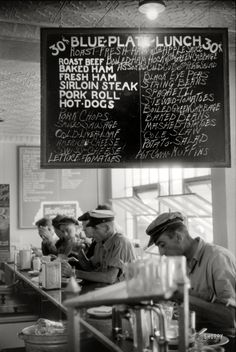 In the cafe at a truck drivers' service station on U.S. 1. Washington, D.C. 1940. By Jack Delano.