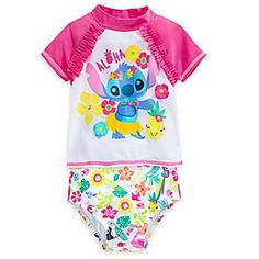 Stitch Swimsuit Set for Baby | Disney Store Baby will enjoy a tropical holiday in the company of Stitch when splashing about in this swimsuit set for Baby. The two-piece set includes rash guard and coordinating swimsuit bottom with UPF 50+ protection so they can play in the sun all day.