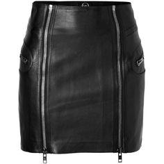 MCQ ALEXANDER MCQUEEN True Black Leather Skirt ($686) ❤ liked on Polyvore featuring skirts, mini skirts, bottoms, saias, faldas, leather miniskirt, black zipper skirt, leather skirt, black leather skirt and black leather miniskirt
