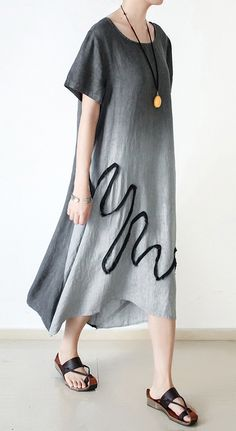 new gray summer dresses plus size casual linen sundress o neck maxi dress