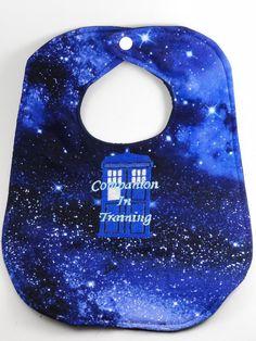 Doctor Who Companion in Training Tardis baby bib by LaMuerteDulce, $13.00