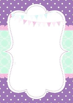This Pin was discovered by ~❁A Diy And Crafts, Paper Crafts, Invitation Background, Zeina, Borders For Paper, Binder Covers, Unicorn Party, Party Printables, Invitation Design