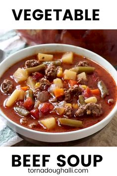 When it comes to comfort this Vegetable Beef Soup is where it's at. With a short list of ingredients this easy soup is delicious hearty and satisfies the family! Beef Soup Recipes, Vegetable Soup Recipes, Healthy Soup Recipes, Vegetarian Recipes, Cooking Recipes, Vegetable Salad, Chili Soup Recipe Beef, Cooking Tips, Homemade Vegetable Soups