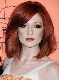 Nicole Roberts // Straight // Dark // Deep // Red Hair // Side Part // Long Side Swept Bang // Cherry // Dark Mahogany Hair, Long Asymmetrical Bob, Inverted Bob, Long Bob, Deep Red Hair, Luscious Hair, Hot Hair Styles, Mid Length Hair, Gorgeous Hair