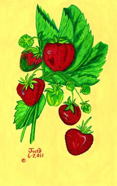 Strawberries Fresh Red Juicy Folk Art Print