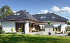 Zdjęcie projektu Na Miarę 3 WAW1044 Houses In Poland, L Shaped House, Suburban House, House Of Beauty, Home Garden Design, Unusual Homes, Backyard Retreat, House Elevation, Modern Barn