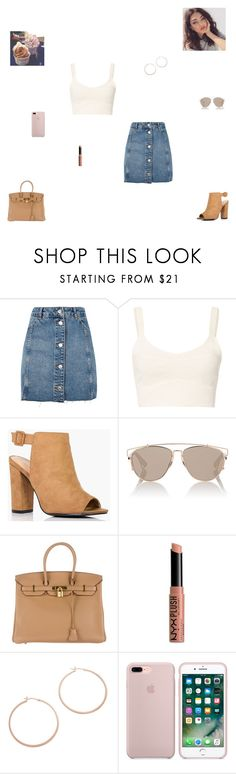 """yogurt shop"" by synclairel ❤ liked on Polyvore featuring Topshop, Elizabeth and James, Boohoo, Christian Dior, Hermès, NYX, Jennifer Zeuner, Summer, cute and casual"