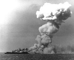 USS Princeton ablaze, Battle of Leyte Gulf, October 24, 1944