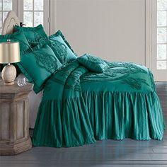 Brylanehome Madison Flounce Bedspread (Emerald,Queen) Bry...