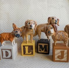 Customize your dogsFOUR paper clay dog sculptures by indigotwin