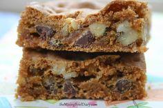 Chocolate Chip and Walnut Blondie Bars {Gluten Free, Dairy Free}