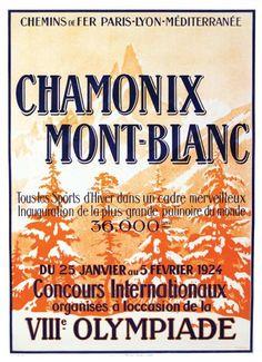 PLM - chamonix - Mont-Blanc - 8ème olympiade - 1924 - illustration de R. Pichon -
