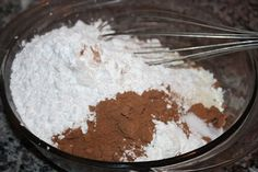 2 c. powdered sugar, 1 c. cocoa, 2 1/2 c. powdered milk, 1 t. salt, 2 t. cornstarch (it also called for a pinch of cayenne pepper, but I was too scared, and skipped this step).