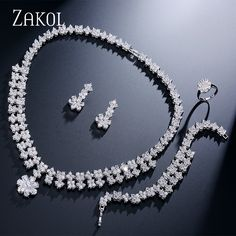 ZAKOL Exquisite Flower Zirconia Dangle Jewelry With Dazzling Sliver Color Trendy For Charms Women Anniversary FSSP238