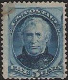 Blue 5-cent U.S. postage stamp picturing Zachary Taylor