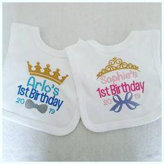 Personalised Birthday Baby Bib, Baby Clothing, First Birthday, Unisex Baby Girl Gifts, New Baby Gifts, Personalized Toddler Backpack, Personalised Baby, 20th Birthday, Grey And Gold, 1st Birthdays, Baby Bibs, Etsy Shop