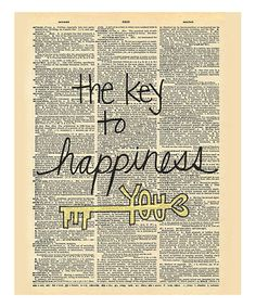 Look at this #zulilyfind! 'Key to Happiness' Dictionary Print #zulilyfinds