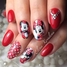 Minnie Mouse Nails, Mickey Nails, Long Square Acrylic Nails, Best Acrylic Nails, Cute Nails, Pretty Nails, Disneyland Nails, Manicure, Valentine Nail Art