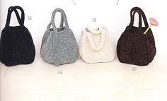 A multitude of Japanese bag patterns with charts.