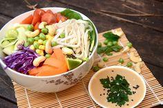 Asian Noodle Vegetable Bowl with Peanut Sauce