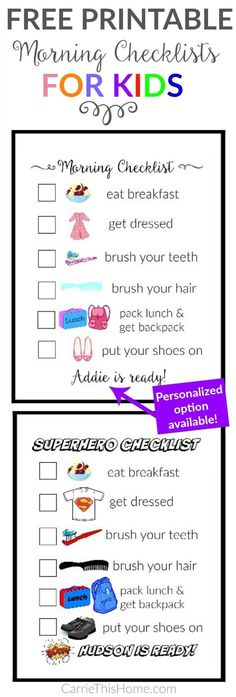 The Secret To Getting The Kids Ready Without Nagging Teach your kids to get themselves ready with this super helpful morning checklist! Both versions have visual cues so it's perfect for pre-readers. There's even a personalized option availiable! Kids Morning Checklist, Kids Checklist, Kids Schedule, Morning Routine For Kids, Parenting Advice, Kids And Parenting, Parenting Styles, Practical Parenting, Routine Chart