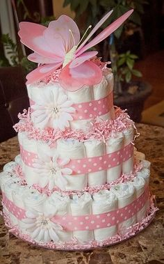 This beautiful White and pink butterfly baby girl diaper cake would be perfect as a gift or centerpiece for your next baby shower! This diaper cake is made-to-order and will include diapers. Baby Cakes, Baby Shower Cakes, Idee Baby Shower, Shower Bebe, Baby Shower Diapers, Girl Shower, Baby Shower Parties, Baby Shower Gifts, Baby Gifts