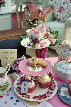 Mad Tea Party Vintage 3 Tier Cake Stand by cake-stand-heaven, via Flickr