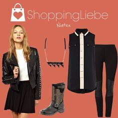 """Viel schwarz, ein wenig weiß und ganz viele Nieten ziehen sich durch unser heutiges Outfit """"Nieten""""  Schuhe: http://shoppingliebe.de/goto/gjcgaXduQI Jacke: http://shoppingliebe.de/goto/7DIpIhJrnC Bluse: http://shoppingliebe.de/goto/oZYKcr6jt4 Leggins: http://shoppingliebe.de/goto/DUpcXoZbBv Kette: http://shoppingliebe.de/goto/YAzuHUjvK2"""