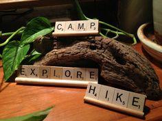 EXPLORE CAMP HIKE Scrabble Decor Set of 3 by CelebratingTheMoment, $12.00