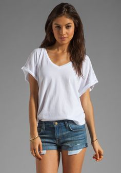 C CALIFORNIA Cap Sleeve Double V-Neck Tee in White at Revolve Clothing