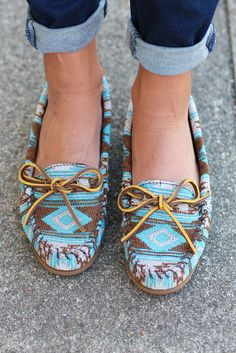 Take a trip without leaving home when you slip into these distinctive Baja-inspired moccasins. These unique shoes feature a beautifully textured fabric reflective of the rich Southwestern lifestyle. Unique Shoes, Cute Shoes, Me Too Shoes, Minnetonka Shoes, Turquoise, Kinds Of Shoes, Western Wear, Western Shoes, Chanel