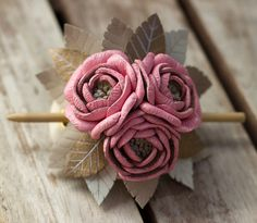 Leather hair stick barrette, hair slide, hair pin with Flowers - color: Pink, Sand, Gold, Light Gray - SMALL