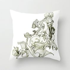Mermaids (Wonderful Mess Series) Throw Pillow by Dan Paul Roberts - $20.00