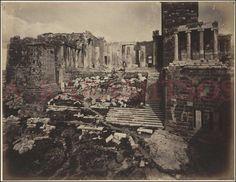 STILLMAN William James, 1869. Rare albumen photo (24x19cm), depicting the entrance of Acropolis, Proplylae & Temple of Athena Nike. Signed &...