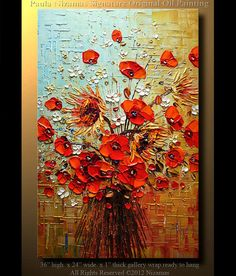 Oil Painting 36 ORIGINAL Large Abstract Brown Blue Red Poppies Impasto Oil Painting byPaula 36 Ready to Hang via Etsy