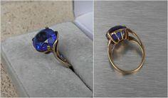 10K Gold Ring Sapphire Blue Gemstone Unusual Asymmetric