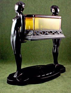 Coffin Girls, a rare Art Deco cigarette box, French, ca.1920s. Click for alternate views...