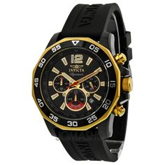 Invicta Signature II Chronograph Nautical Black Dial Black Rubber Mens Watch 7434