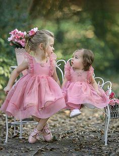 Simple Cute Tulle Dusty Pink Sleeveless Popular Little Girl Dresses, Pink Flower Girl Dresses, Little Girl Dresses, Girls Dresses, Flower Girls, Foto Baby, Designer Kids Clothes, Baby Kind, Beautiful Children, Little Princess