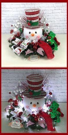 Light up Snowman Centerpiece, Christmas Centerpiece, Red Top Hat Snowman Centerpiece, Raz Christmas Centerpiece, Snowman Table Decor by Splendid Homecrafts on Etsy. #centerpiece #snowman