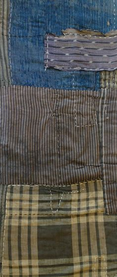 Antique Japanese Handwoven Indigo Boro Patched Scarf Textile with Sashiko Mends