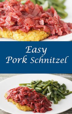 A comfort food dinner for the Fall and Winter that is easy to prepare on a weeknight for a main dish hit! #pork #porkrecipe #schnitzel #easydinner #comfort food #porkschnitzel via @mondayismeatloaf
