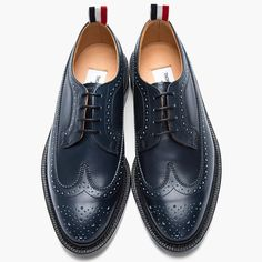 Classic men's dress shoes.- suave leather longwing brogues in deep navy from Thom Browne.