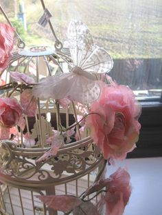 shabby chic and butterfly wedding ideas | Cream Shabby Chic Style Bird Cage Decorated with Flowers & Butterflies