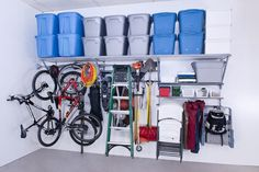 Monkey Bar Shelving systems provide the customized solutions for all the things that need stored in the garage. Hook systems below provide even more storage space.