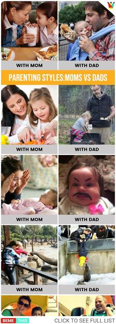 Funny Comparisons of Mom and Dads Parenting Styles #parents #parenting #kids #funnypics #humor #bestfunnypics #funnypictures #humour #couples #momsvsdads #parentingstyles #photos #bemethis