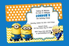 Despicable Me Minions Personalized Birthday Invitations on Etsy, $10.00