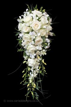 love the fullness, maybe add some color to it ? Cascading Wedding Bouquets, Bride Bouquets, Flower Bouquet Wedding, Bridesmaid Bouquet, Cascade Bouquet, Flower Bouquets, Wedding Flower Guide, Floral Wedding, Wedding Ideas
